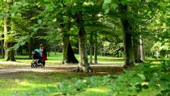 Woman with a pram (baby) on a walk in the park - sunny - detail of branch Stock Footage