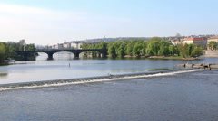 Vltava River in the morning - stock footage