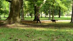 Woman with dog in park - trees Stock Footage