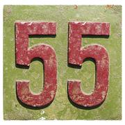 plate with a number 55 - stock photo