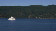 BC Ferry Queen of Capilano Approaching Horseshoe Bay Stock Footage