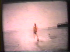 Waterskiing on lake vintage and archival Stock Footage
