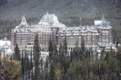 large hotel in banff canada - stock photo