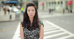 Young Asian Woman in city sad crying face portrait 4k - stock footage