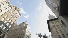 Empire State Building American Flag Manhattan New York City NYC Panning Stock Footage