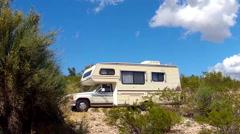 Mini Motorhome RV Recreational Vehicle In Arizona Desert - stock footage