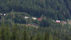 Canadian Pacific Train Westbound in Upper Spiral Tunnel Stock Footage