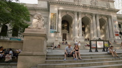 New York Public Library Manhattan NYC Steps People Midtown 4K Stock Footage