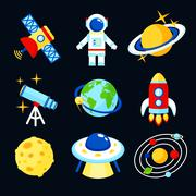 Space icons set Piirros