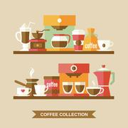 Coffee elements on shelves - stock illustration