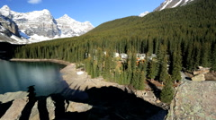 Outdoor Recreation Hiking Female Travel Lake Moraine Canada Remote Scenic Beauty Stock Footage