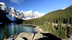Unpolluted Scenic Landscape Female Hiker Lake Moraine British Columbia Stock Footage