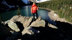 Unpolluted Scenic Landscape Female Hiker Lake Moraine British Columbia - stock footage