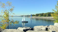 Two Sailboats in the Bay - stock footage