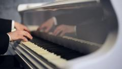 Hands Playing The White Piano Stock Footage