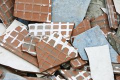 Stock Photo of Construction rubble, broken tiles