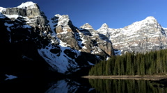Unpolluted Pure Scenic Landscape Environment Lake Moraine British Columbia Stock Footage