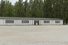 dachau concentration camp. barrack building today. - stock photo