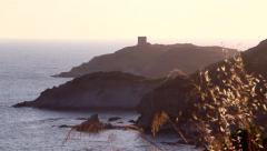 Ancient defensive tower in mediterranean sea Stock Footage