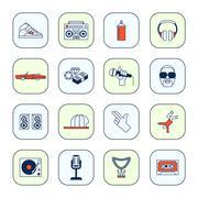 Rap music icons set - stock illustration