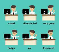 Businessman emotions set - stock illustration
