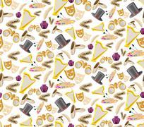 Theatre seamless pattern Stock Illustration