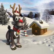 Rudolph reindeer in a Christmas landscape Stock Illustration