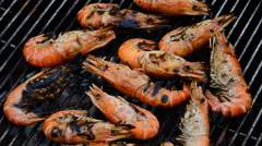 Grilled shrimp. HD - stock footage