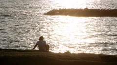 Man in shining sunset Stock Footage