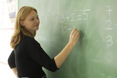 Elementary teacher writing math equations on blackboard - stock photo