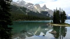 Geographic Wilderness Landscape Terrain Mountain Snow Peaks Lake - stock footage