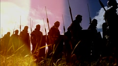 Gladiators troop going to war. shot in slow motion on Red Epic. Stock Footage