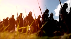 Troop of historical gladiators marching together. shot on Red Epic Stock Footage