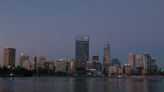 Perth City Skyline in the Last Light of the Day Stock Footage
