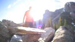 Glacial Valley Blue Water Lake Moraine Female Hiker Remote Hiking Trails Stones - stock footage