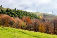 Electric pillars near autumnal mountain forest Stock Photos