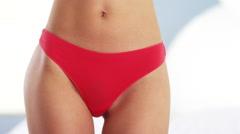 Stock Video Footage of Skinny woman in red underwear