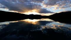 Geographic Wilderness Landscape Terrain Mountain Snow Peaks Lake Night - stock footage
