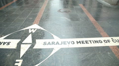 "Pan view of ""Sarajevo meeting of cultures"" written on the street of Sarajevo. Stock Footage"