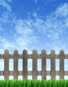 Stock Illustration of picket fence and blue sky