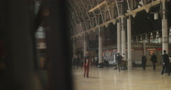 View from train window at Paddington station 4K Stock Footage