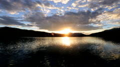 Environmental Unpolluted Valley Travel Location Lake Outdoor Wilderness Sunset - stock footage