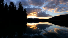 Outdoor Recreation Travel Spirit Lake Canada Sunset Remote Scenic Beauty Stock Footage