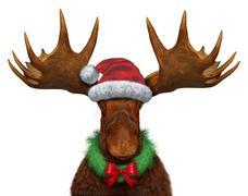 christmas moose - stock illustration