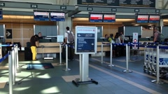 one side of air canada check in counter - stock footage