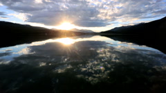 Unpolluted Pure Scenic Environment Lake Water Clouds Reflection Sunset - stock footage