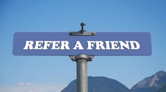refer a friend road sign - stock footage