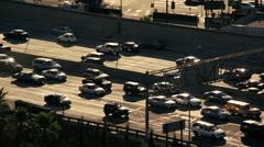 Time lapse commuter vehicle city multiple lane Freeway USA - stock footage