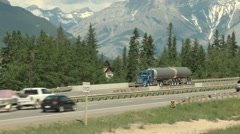 Semi trailer tanker truck on the Trans Canada Highway Stock Footage