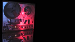 Tape recorder-reel to reel-17 Wide angle framed left, black on right Stock Footage